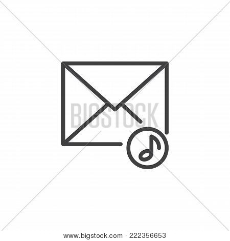 Music envelope line icon, outline vector sign, linear style pictogram isolated on white. Voice message symbol, logo illustration. Editable stroke