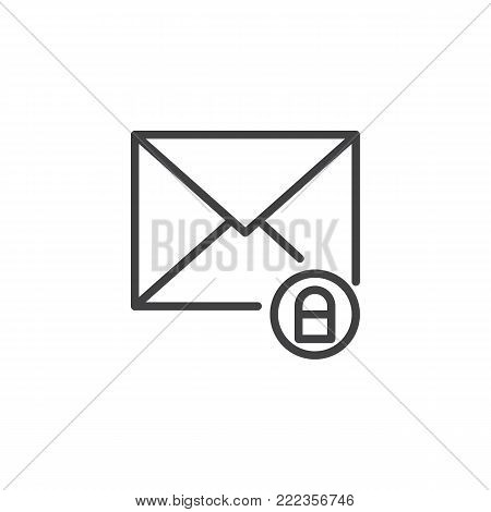 Mail envelope and lock line icon, outline vector sign, linear style pictogram isolated on white. Secure mail symbol, logo illustration. Editable stroke