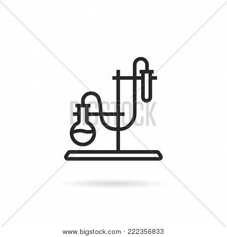 laboratory experience test tube logo. concept of creation experimental solution in classroom or chemistry. stroke flat logotype or linear graphic art design illustration isolated on white background