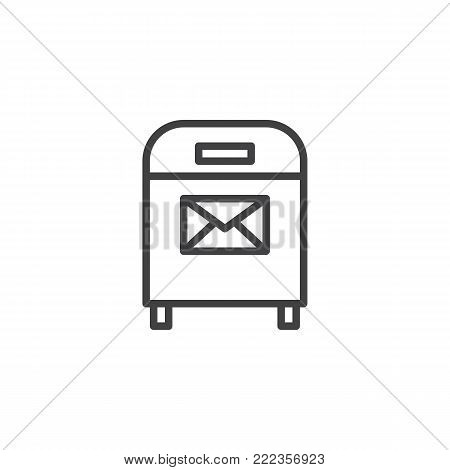 Mail box with envelope line icon, outline vector sign, linear style pictogram isolated on white. Post box with message symbol, logo illustration. Editable stroke