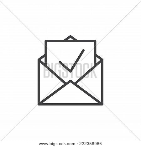Inbox, receive mail line icon, outline vector sign, linear style pictogram isolated on white. Newsletter in envelope symbol, logo illustration. Editable stroke
