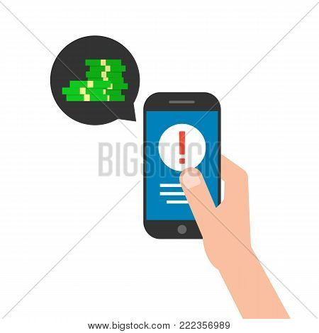 blackmail by yber attack to locked phone. flat style trend modern graphic design isolated on white background. concept of spread infected programs worldwide or danger of infection mobile app