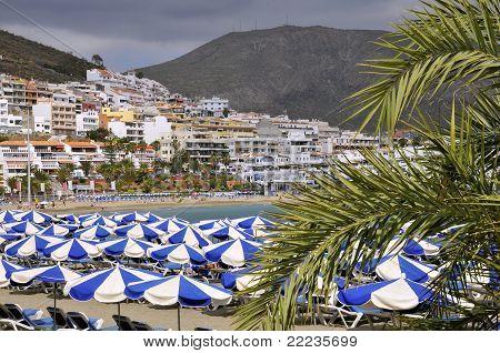 Beach of Los Cristianos at Tenerife