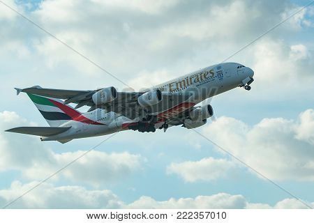 DUBAI, UAE - DECEMBER, 2016: Airbus A380-800 is a double-deck, wide-body, four-engine jet airliner. It is the world's largest passenger airliner belonging to Emirates airline