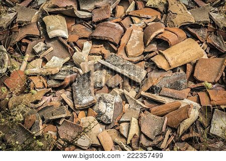 A bunch of shards of old pottery and jugs