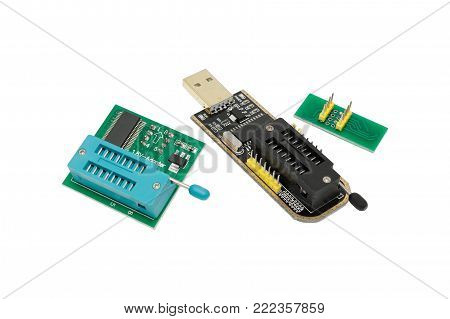 Computer usb mini programmer. Close-up. Isolated on white background.