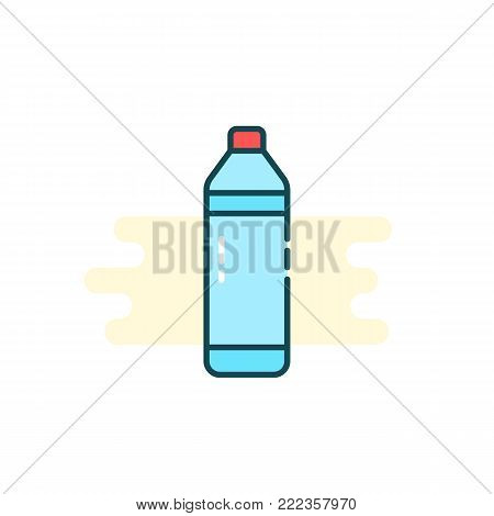 simple cartoon bottle icon with water. unusual flat linear style trend modern logotype graphic art design isolated on white background