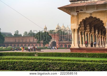 AGRA, INDIA - NOVEMBER, 2017: Diwan-i-Am - Hall of Public Audience is a room in the Red Fort of Delhi where the Mughal emperor Shah Jahan and his successors received members of the general public