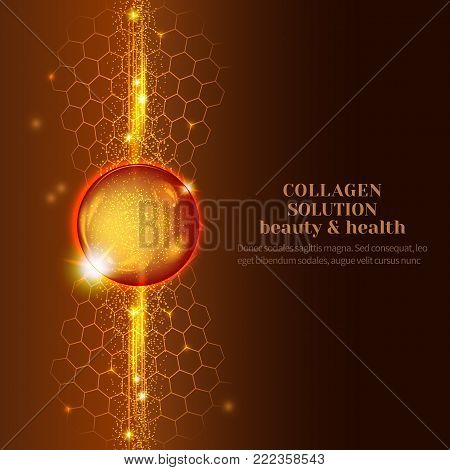 Vector Illustration of gold oil bubbles on precious background.Collagen emulsion in water. Gold serum droplets.Package design cosmetic products.