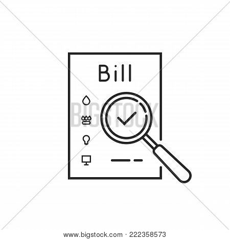 thin line payment of utility bills icon. concept of duty assessment and payment of debts for used house resources. stroke flat style trend logo graphic art design isolated on white background
