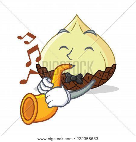 With trumpet snake fruit mascot cartoon vector illustration