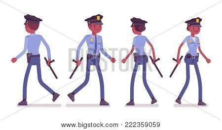 Young black officers walking, policeman and policewoman, members of police force patrolling neighborhoods. Law and justice concept. Vector flat style cartoon illustration isolated on white background