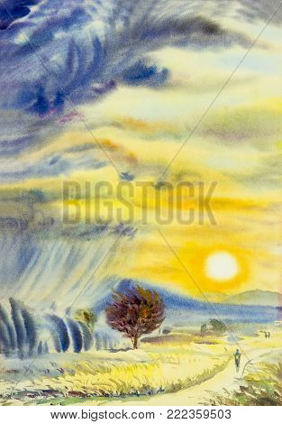 Men riding a motorcycle. Watercolor landscape original painting colorful of sunset on mountain and rain cloud,windy on rice field,meadow in emotion yellow sky background,abstract,illustration.