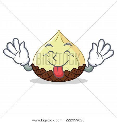 Tongue out snake fruit mascot cartoon vector illustration