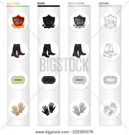 The emblem of the hippodrome, the rider's boots, the racetrack, the gloves. Horse Racing set collection icons in cartoon black monochrome outline style vector symbol stock illustration .