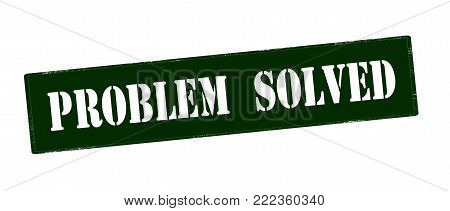 Rubber stamp with text problem solved inside, vector illustration