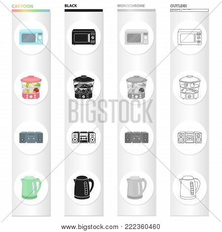 Types of household appliances cartoon black monochrome outline icons in set collection for design.Kitchen equipment vector symbol stock illustration.