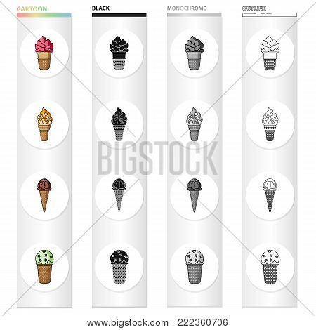 Ice cream, food and dessert. Different types of ice cream set collection icons in cartoon black monochrome outline style vector symbol stock illustration .
