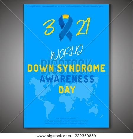 Down syndrome poster. 21th March - World Awareness Day. Vector illustration in blue, white and yellow colours.