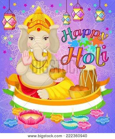 Light Indian Holi Holiday poster with Ganesha God national flag drums diya lotus flower lanterns vector illustration