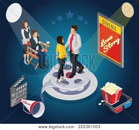 Isometric cinematography composition with couple on film reel director cinema premiere clapper megaphone popcorn glasses vector illustration