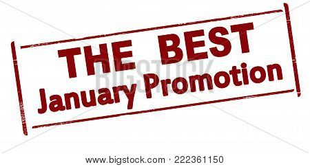 Rubber stamp with text the best January promotion inside, vector illustration
