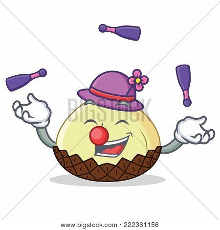 Juggling snake fruit mascot cartoon vector illustration