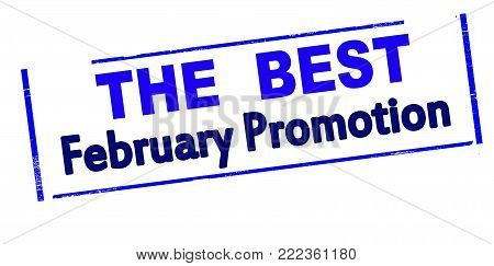 Rubber stamp with text the best February promotion inside, vector illustration