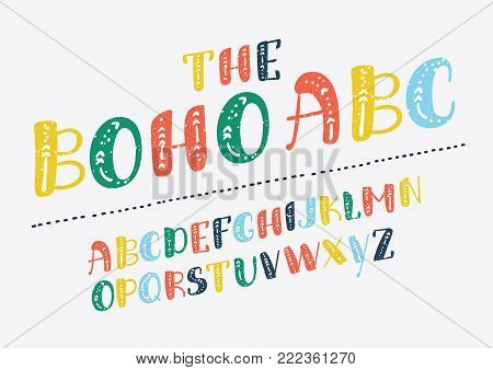 Vector of retro slanted boho alphabet. ABC in different colors on white baclground. English typeface for print, disign, posters, cards, baners, ads.