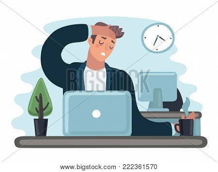 Vector cartoon illustration of tred sad busy office worker man character. Clerk work at the laptop feeling bad. Hold her had. Headache sick, flu, exhousted, stresse, depression