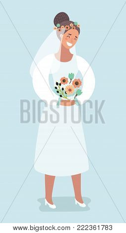Vector cartoon illustration of Sweet Bride holding bouquet - Bridal Shower or Wedding. Character isolated on white background.