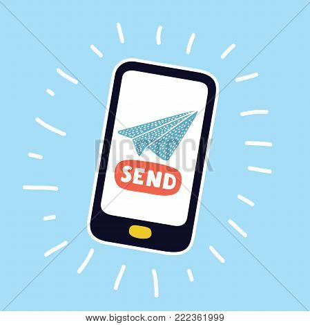 Vector cartoon illustration of Mobile money transfer or message. Send the data by mobile phone. Hand drawn colorful concept in modern style. Paper plane on display
