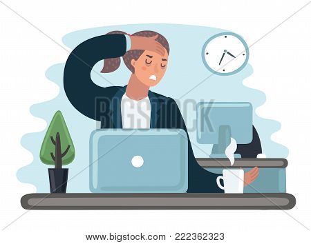 Vector cartoon illustration of tred sad busy office worker woman character. Girl work at the laptop feeling bad. Hold her had. Headache sick, flu, exhousted, stresse, depression
