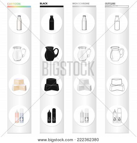 A bottle of milk, a jug, a piece of cheese, whipped cream. Milk set collection icons in cartoon black monochrome outline style vector symbol stock illustration .