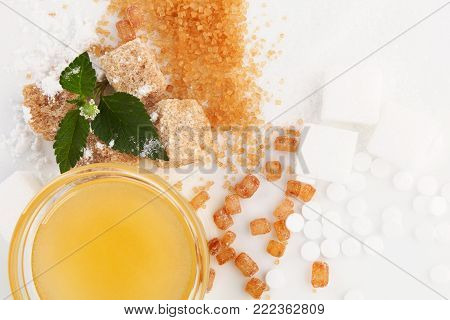 Various Types Of Sugar -  Brown, White, Crystal, Powdered And Cane Sugar, Artificial Sweetener And H