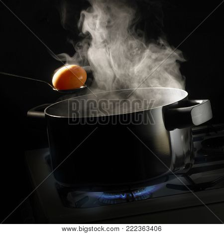 SPOON HOLDING BOILED EGG OVER PAN OF BOILING WATER WITH RISING STEAM SIMMERING ON GAS COOKER