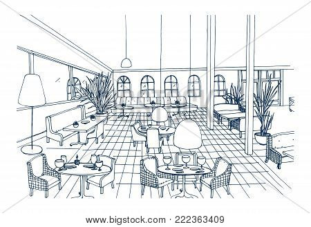 Fancy restaurant or cafe interior with checkered floor and stylish furnishings hand drawn in black and white colors. Freehand drawing of modern bistro furnished in elegant style. Vector illustration