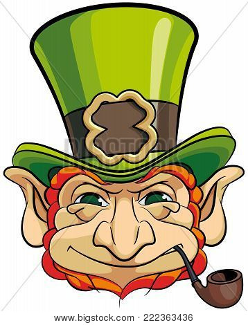 Vector colourful illustration of leprechauns head in top hat, isolated on white background. File doesn't contains gradients, blends, transparency and strokes or other special visual effects. You can open this file with any vector graphics editors.