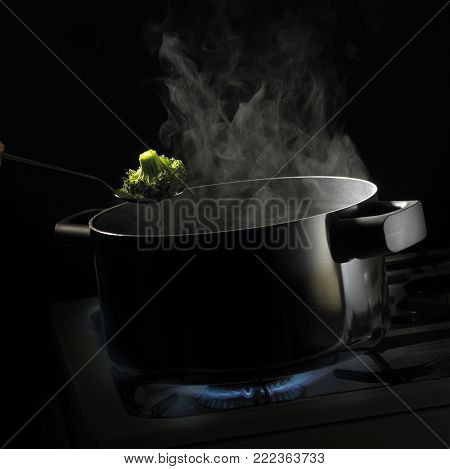 SPOON HOLDING FLORETTE OF BROCOLLI OVER PAN OF BOILING WATER WITH RISING STEAM SIMMERING ON GAS COOKER