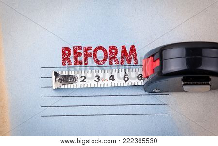 reform concept. analysis, audit and change. health, education and budget background.