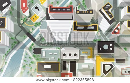 Top, aerial or bird s eye view of city with buildings of modern architecture, skyscrapers, streets, river and bridge. Beautiful urban landscape, plan. Colorful vector illustration in cartoon style
