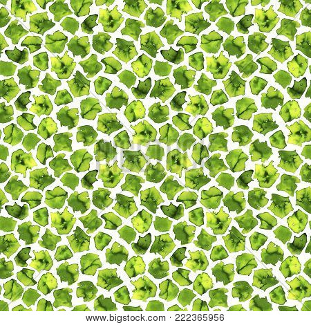 Hand drawn green watercolor pattern. Ink illustration. Hand drawn ornament for wrapping paper. Seamless spring pattern.