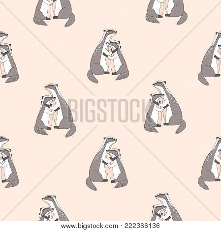 Seamless pattern with cute hugging badgers with closed eyes on pink background. Backdrop with adorable cartoon forest animals embracing each other. Colored vector illustration for wallpaper