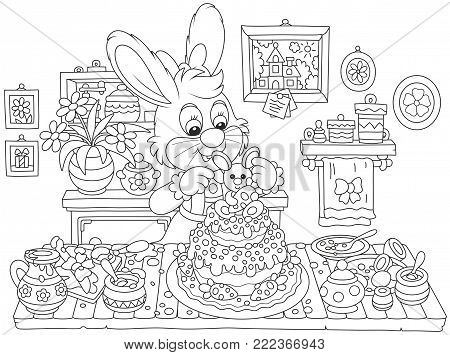 Little bunny decorating a fancy cake to Easter, a black and white vector illustration in funny cartoon style for a coloring book