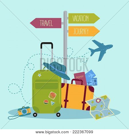 Travel items and pointer signpost with travel, vacation, journey directions. Traveler suitcase with stickers. Bag, map, camera, tickets, phone, hat, airplane compass and airplane Vector illustration
