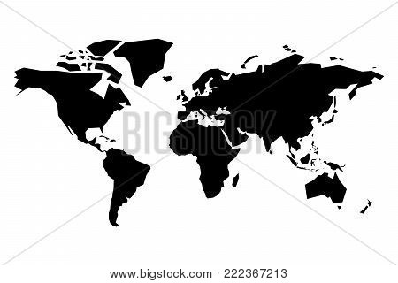 Map of World vector silhouette. Simplified black map on white background.