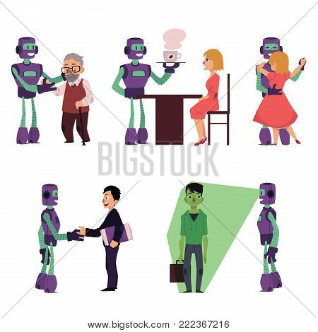 Set of robot assistants helping people, cartoon vector illustration isolated on white background. Robot assistants helping old man, serving coffee, dancing, making business, doing security scan
