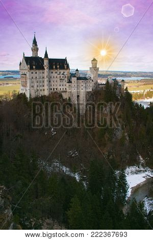 Aereal view of Neuschwanstein castle at sunset in Bavaria, Germany