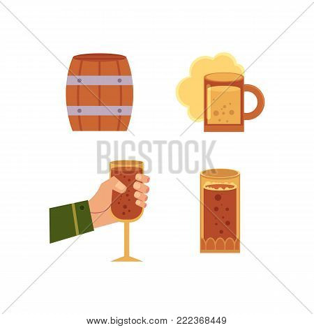 vector flat man hand glass of alcohol sparkling drink, mug and cup of golden lager cool beer and wooden barrel, keg. Ready for your design isolated illustration on a white background.