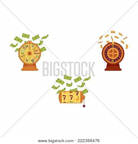 vector flat casino symbols icon set. gambling lucky wheel of fortune, casino roulette wheel with gold coin, triple seven jackpot, slot mashine with dollar rain. Isolated illustration, white background